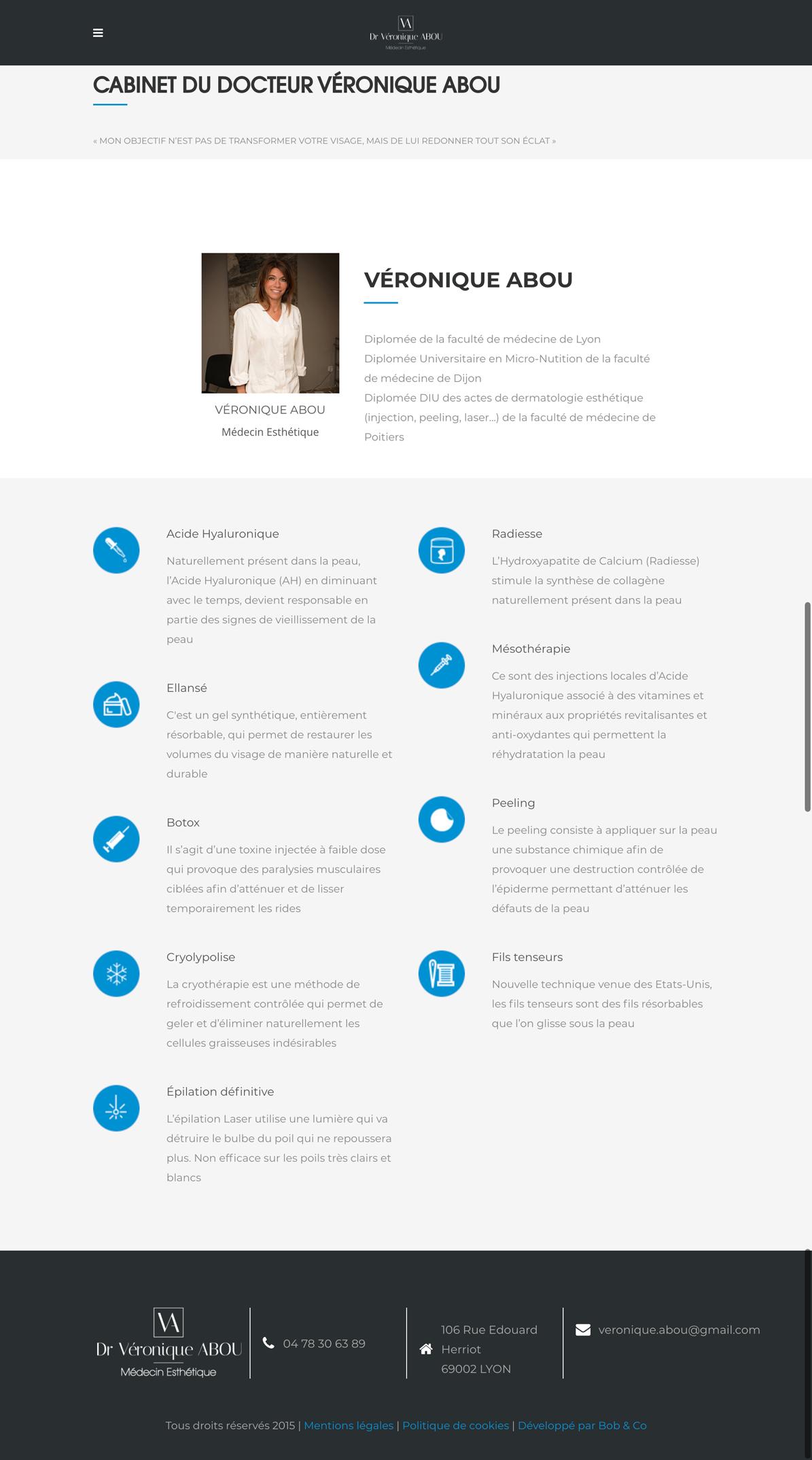 Docteur Véronique Abou Un site développé par BobandCo