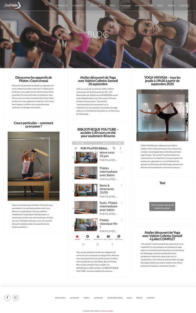 Pur Pilates Un site développé par BobandCo